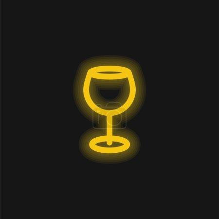 Illustration pour Grande Coupe de vin jaune néon brillant icône - image libre de droit