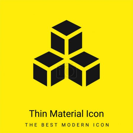 Illustration for 3d minimal bright yellow material icon - Royalty Free Image