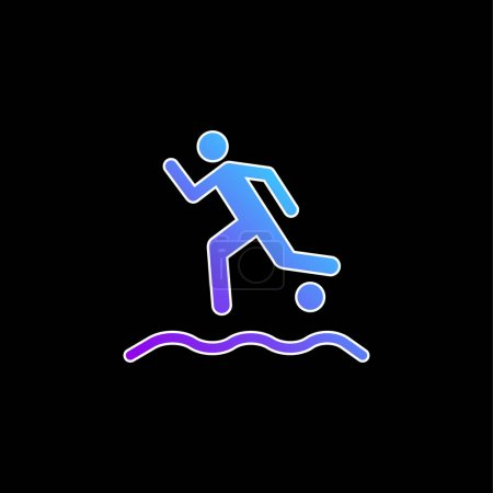 Beach Soccer Player Running With The Ball On The Sand blue gradient vector icon