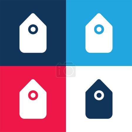 Illustration pour Symbole d'interface d'étiquette noire en position verticale bleu et rouge ensemble minimal d'icônes de quatre couleurs - image libre de droit