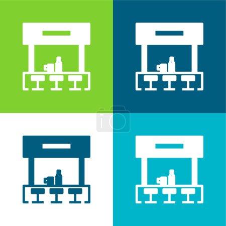 Illustration pour Bar Ensemble d'icônes minimal plat quatre couleurs - image libre de droit