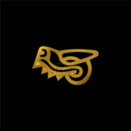 Animal Head Symbol Of Mexico Antique Cultures gold plated metalic icon or logo vector