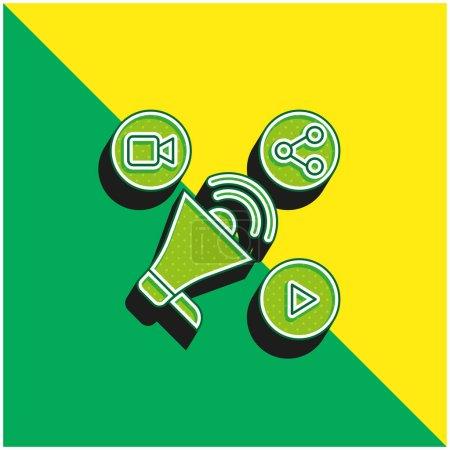 Illustration pour Publicité Logo vectoriel 3d moderne vert et jaune - image libre de droit