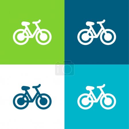 Illustration for Bike Flat four color minimal icon set - Royalty Free Image