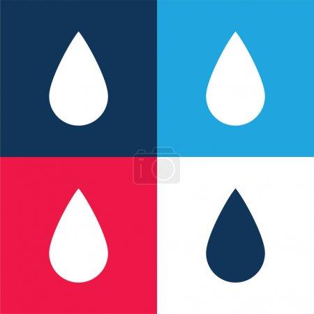 Illustration pour Forme de goutte d'encre noire bleu et rouge ensemble d'icônes minimales de quatre couleurs - image libre de droit