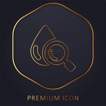 Illustration for Blood Analysis golden line premium logo or icon - Royalty Free Image