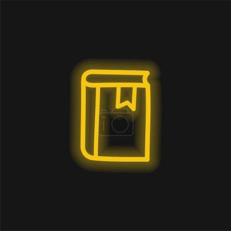 Agenda Handgezeichnetes Werkzeug Umriss gelb leuchtendes Neon-Symbol