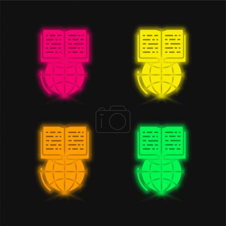Book four color glowing neon vector icon
