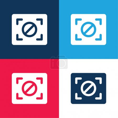 Illustration for Block Focus blue and red four color minimal icon set - Royalty Free Image