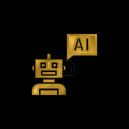 Bot gold plated metalic icon or logo vector
