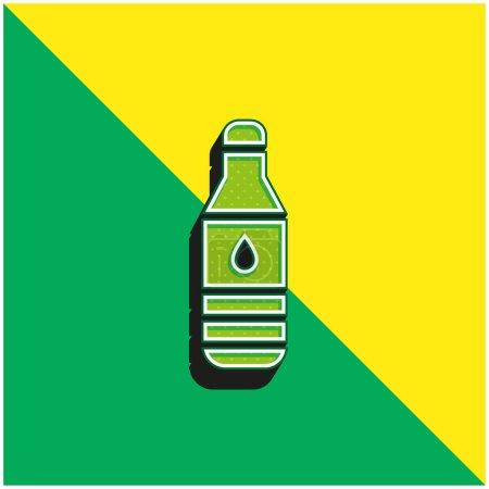 Photo pour Bouteille Logo vectoriel 3d moderne vert et jaune - image libre de droit