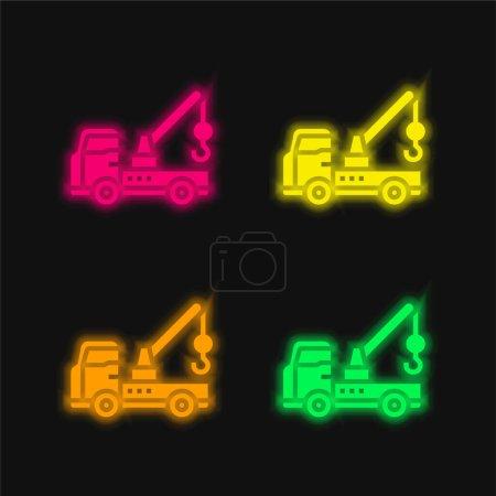 Illustration pour Ventilation quatre couleur brillant icône vectorielle néon - image libre de droit