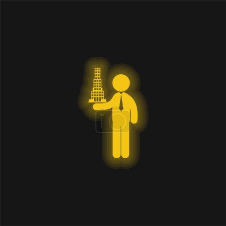 Illustration pour Architecte avec projet de construction jaune brillant icône néon - image libre de droit