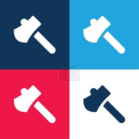 Illustration pour Hache bleu et rouge quatre couleurs minimum jeu d'icônes - image libre de droit