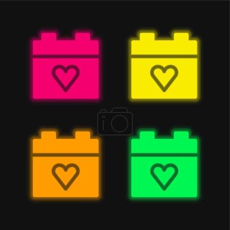 Illustration pour Anniversaire quatre couleur brillant icône vectorielle néon - image libre de droit