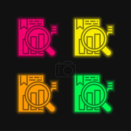 Analysis four color glowing neon vector icon