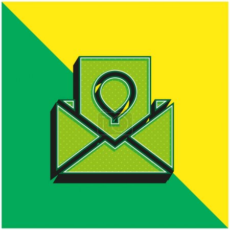 Illustration pour Carte d'anniversaire Logo vectoriel 3D moderne vert et jaune - image libre de droit