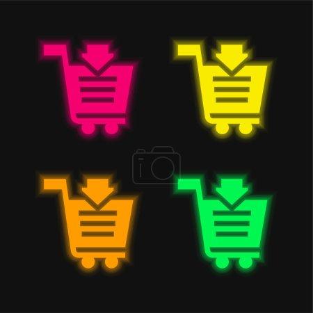 Illustration pour Ajouter au panier icône vectorielle néon rayonnante de quatre couleurs - image libre de droit