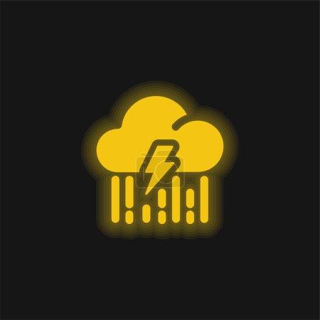 Illustration pour Boulon jaune brillant icône néon - image libre de droit