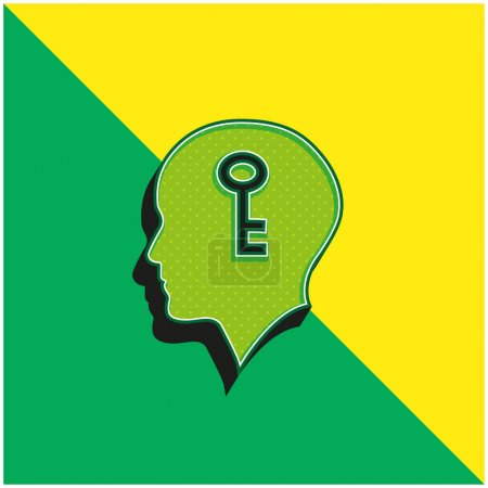 Illustration for Bald Head With A Key Inside Green and yellow modern 3d vector icon logo - Royalty Free Image