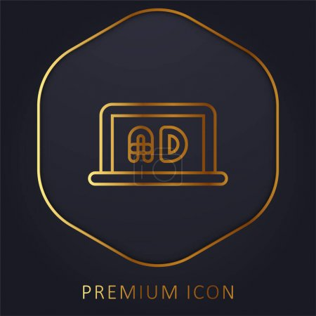 Illustration for Ads golden line premium logo or icon - Royalty Free Image