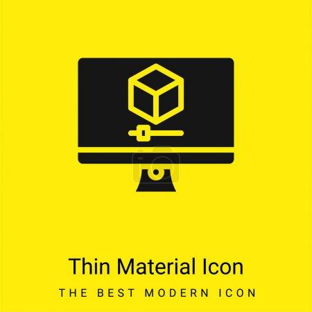 Foto de 3d gráficos mínimo icono de material amarillo brillante - Imagen libre de derechos