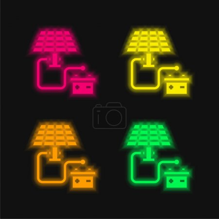 Illustration for Battery four color glowing neon vector icon - Royalty Free Image