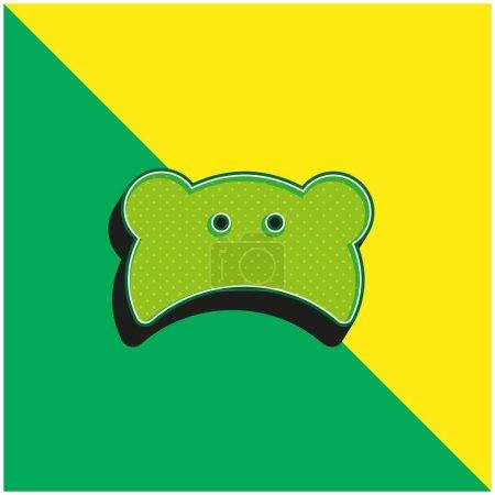 Illustration pour Silhouette de tête d'ours bébé Logo vectoriel 3D moderne vert et jaune - image libre de droit