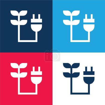 Illustration pour Ensemble d'icônes minimes Bioenergy bleu et rouge quatre couleurs - image libre de droit