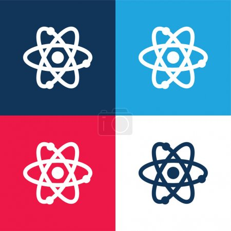 Illustration for Atom blue and red four color minimal icon set - Royalty Free Image
