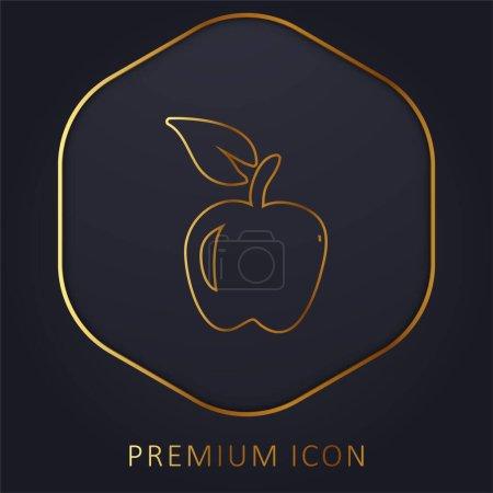 Illustration for Apple Hand Drawn Fruit golden line premium logo or icon - Royalty Free Image