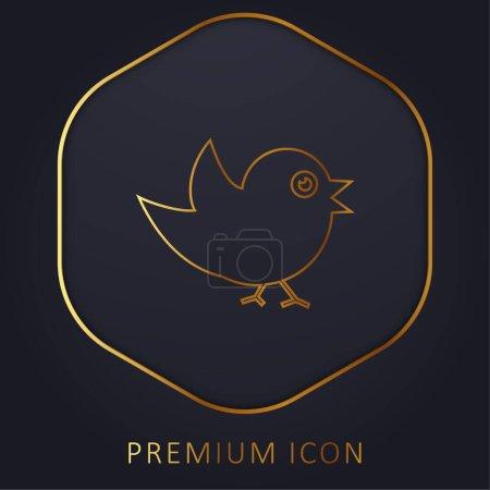 Foto de Pájaro De Plumas Negras línea de oro logotipo premium o icono - Imagen libre de derechos
