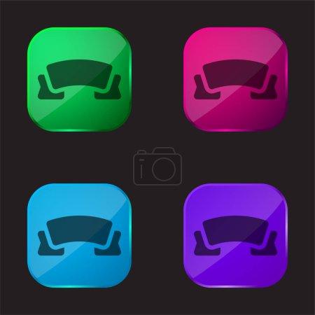 Illustration pour Bannière icône de bouton en verre quatre couleurs - image libre de droit