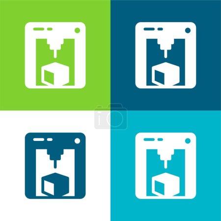 Photo pour Imprimante 3d Ensemble d'icônes minimal plat quatre couleurs - image libre de droit