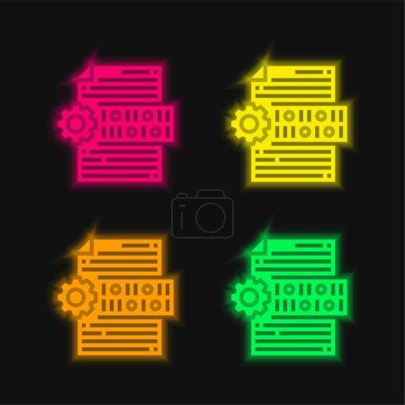 Photo pour Code binaire quatre couleurs rougeoyantes icône vectorielle néon - image libre de droit