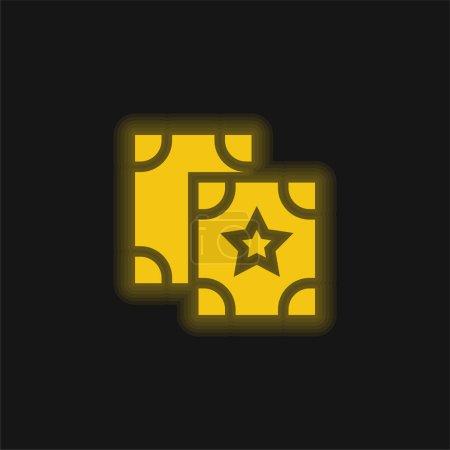 Illustration pour Astrologie jaune brillant icône néon - image libre de droit