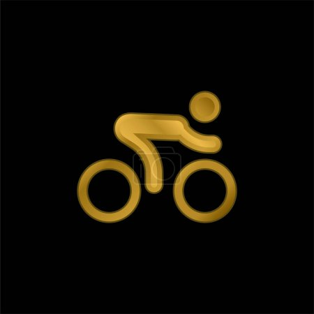 Illustration for Bicycle Race gold plated metalic icon or logo vector - Royalty Free Image