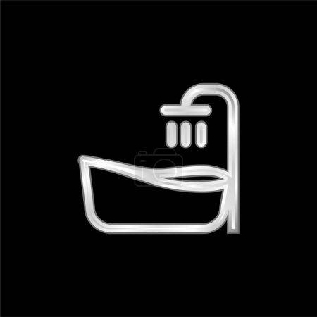 Baignoire argent plaqué icône métallique