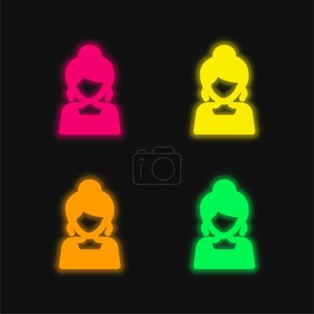 Illustration pour Bride quatre couleur rougeoyante icône vectorielle néon - image libre de droit