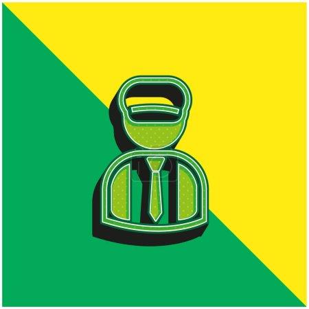 Illustration pour Gardien de livres Logo vectoriel 3d moderne vert et jaune - image libre de droit