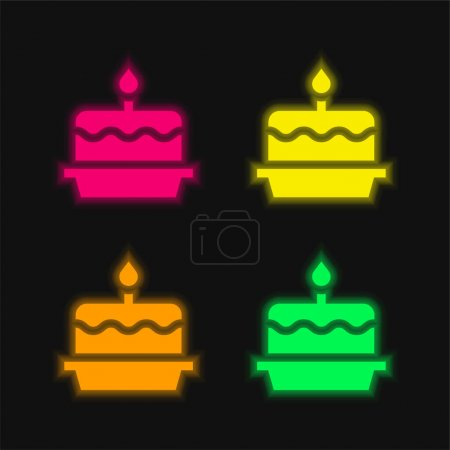 Illustration for Birthday Cake four color glowing neon vector icon - Royalty Free Image