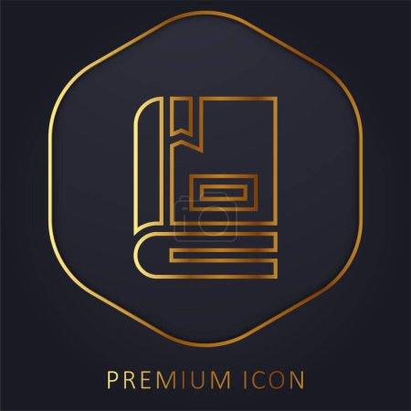 Books golden line premium logo or icon