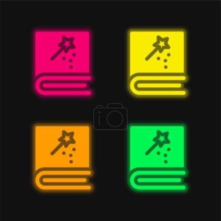 Foto de Libro de cuatro colores brillante icono del vector de neón - Imagen libre de derechos