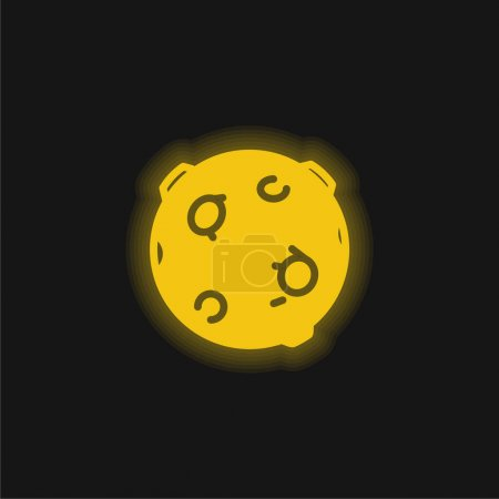 Black Ball With Circles yellow glowing neon icon