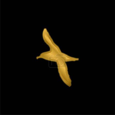 Foto de Albatros Forma de pájaro chapado en oro icono metálico o logo vector - Imagen libre de derechos