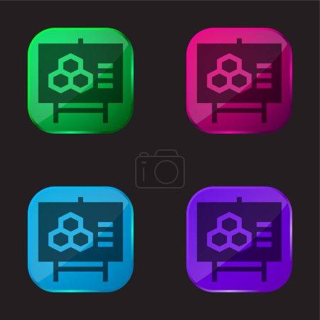 Illustration pour Biologie icône bouton en verre quatre couleurs - image libre de droit