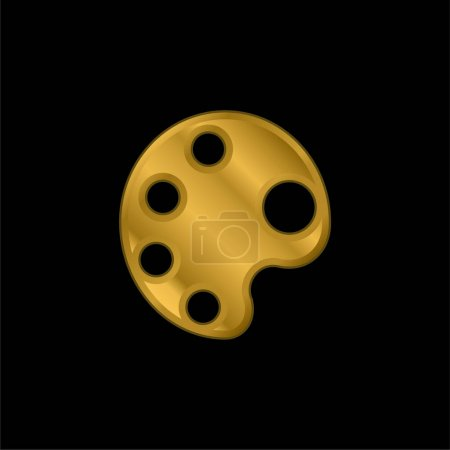 Illustration for Big Paint Palette gold plated metalic icon or logo vector - Royalty Free Image