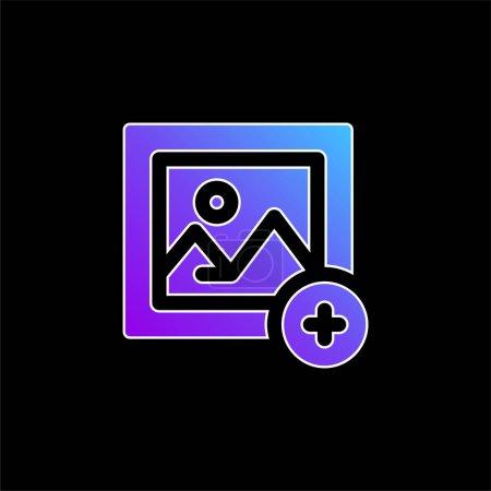 Illustration pour Ajouter Image icône vectorielle dégradé bleu - image libre de droit