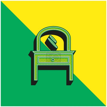 Bed Room Mirror On A Drawer Furniture Green and yellow modern 3d vector icon logo