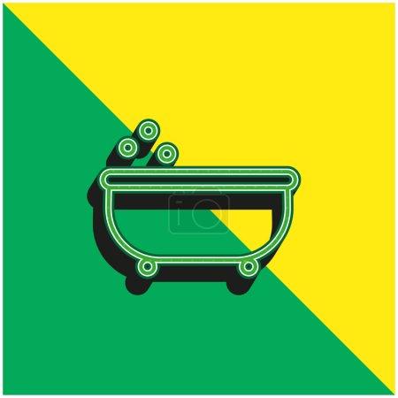Baignoire contour vert et jaune moderne icône vectorielle 3d logo